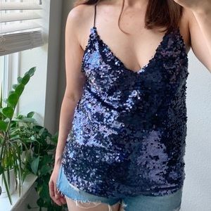 ZARA SEQUINNED Strappy Camisole NWT